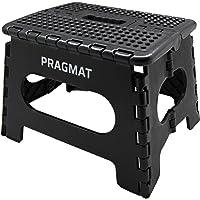 PRAGMAT Klapphocker/Tritthocker mit rutschfesten Noppen, zusammenklappbar, Tragkraft 100kg, Höhe 22cm, schwarz