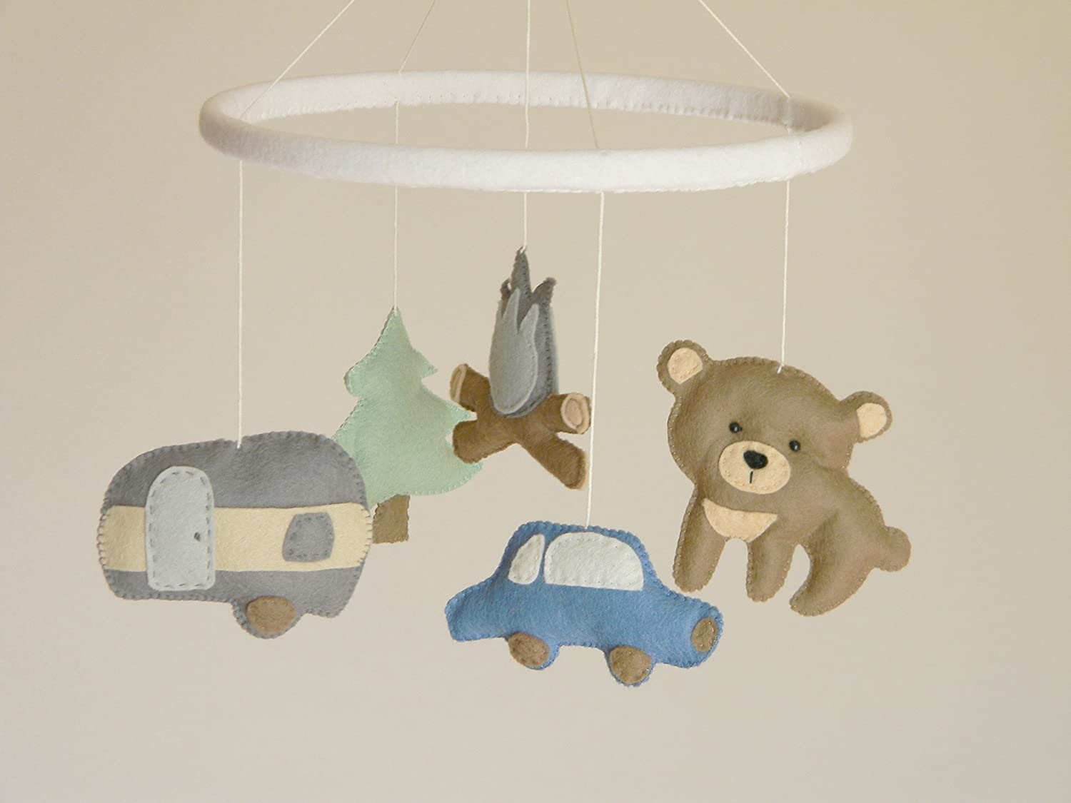 Camping baby mobile, Felt stuffed animals mobile, Woodland baby mobile ,Transportation boy mobile,Travel nursery decor, Felt car bear tree camper