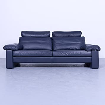 Amazonde Cor Conseta Designer Sofa Blau Leder Dreisitzer Couch