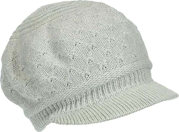 bdecd021265 Hand By Hand Aprileo Knitted Visor Brim Beanie Hat Angora Blend Cap Double  Lined  01