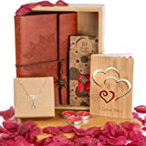 Romantic Gifts for Her - Includes: Silver Necklace, Leather Journal, Rose Petals & Romantic Candles and Bamboo Love Card