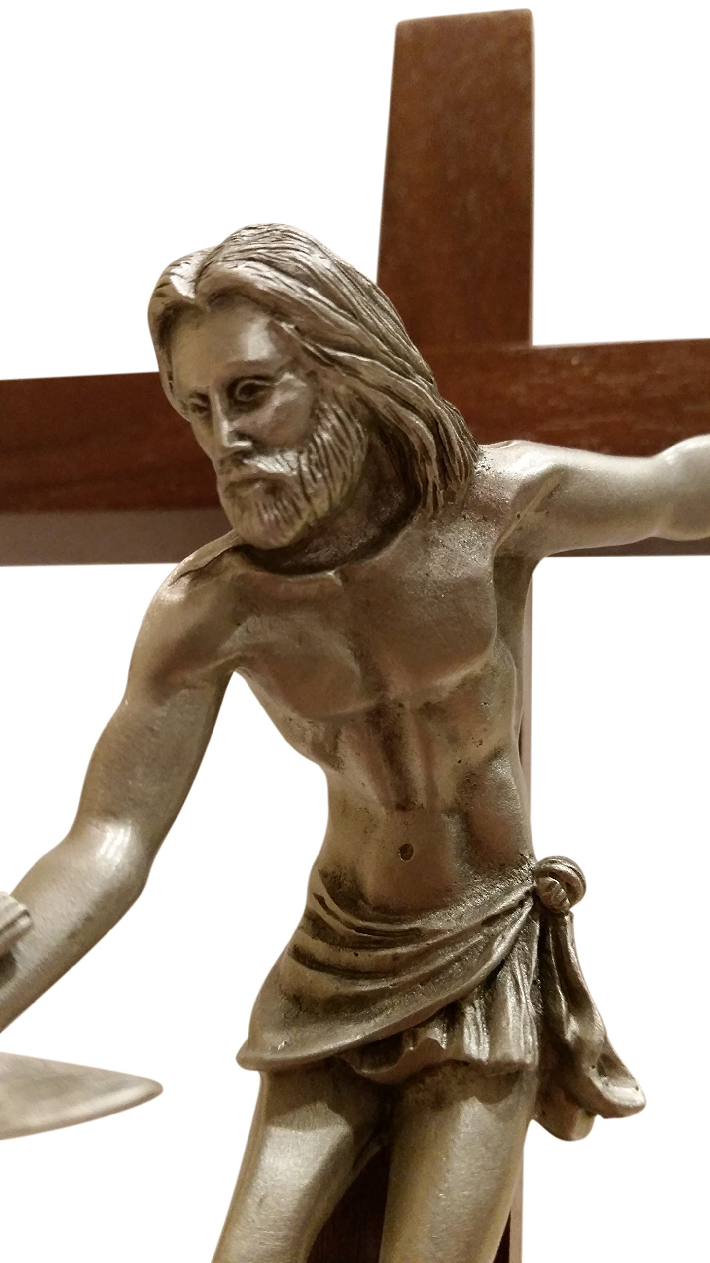 Inspire Nation Gift of the Spirit Walnut Wood Standing Wall Cross Crucifix with Removable Base for Hanging 8 inches by Inspire Nation (Image #3)