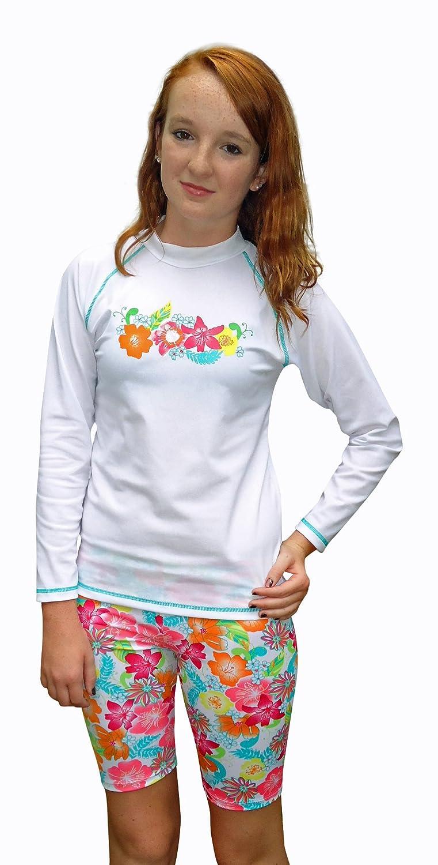 Sun Emporium Girls Long Sleeve UV Sun Protective Rash Guard Swim Shirt and Shorts 2 -piece Set- UPF/SPF Protection, Floral, 12