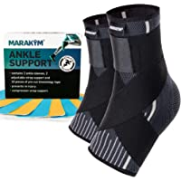 MARAKYM Premium Ankle Compression Socks for Men & Women - Foot Wrap Arch Support - Ankle Sleeves for Achilles Tendonitis…