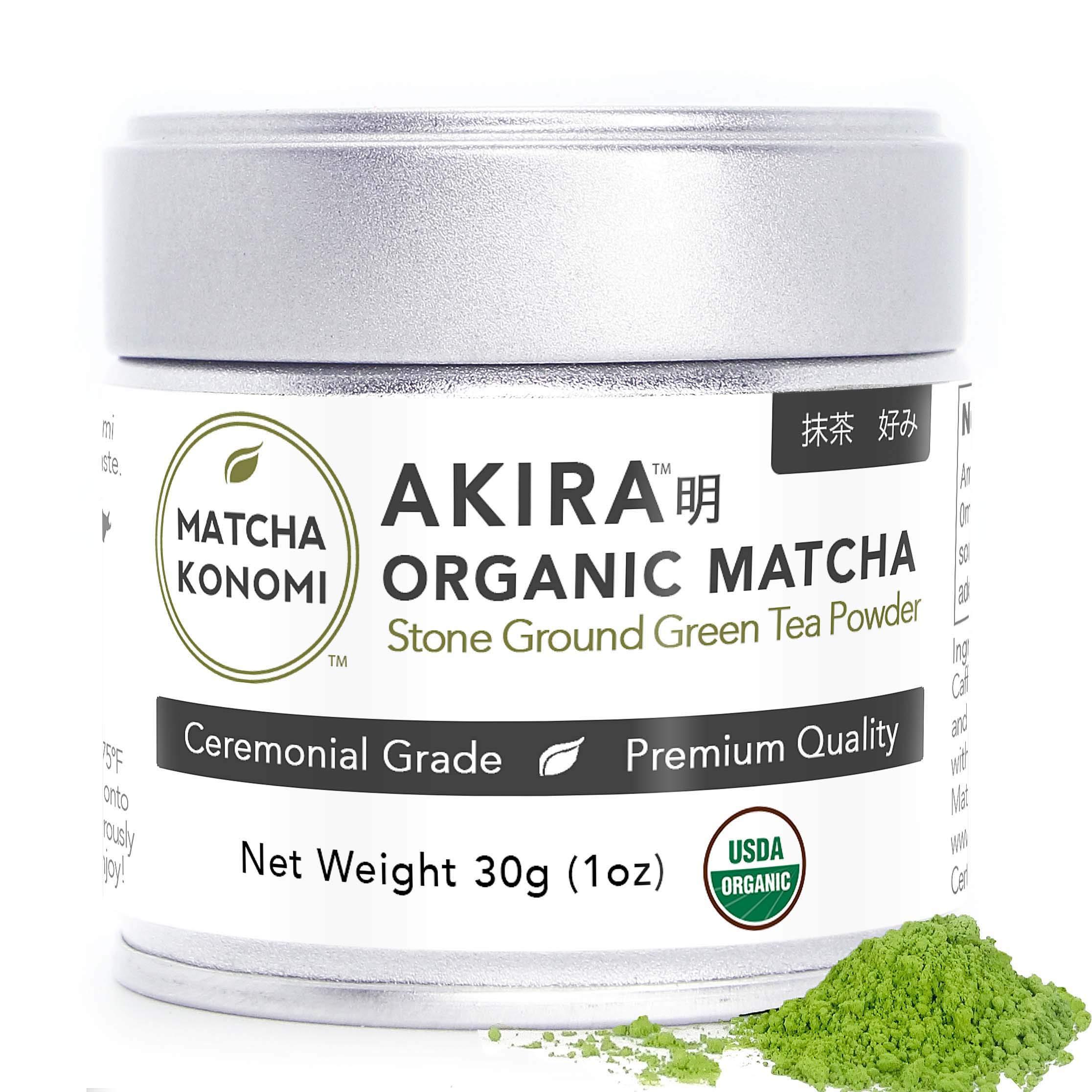 Akira Matcha 30g - Organic Premium Ceremonial Japanese Matcha Green Tea Powder - First Harvest, Radiation Free, No Additives, Zero Sugar - USDA and JAS Certified(1oz tin) by Matcha Konomi