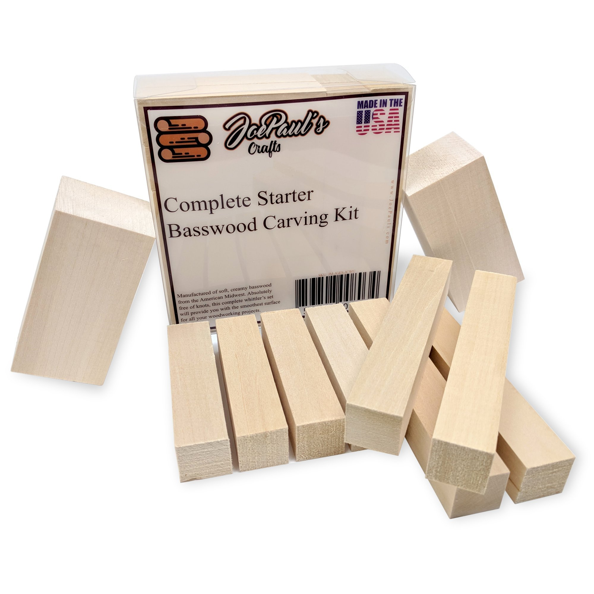 Large Basswood Carving Blocks Kit - Best Whittling Kit for Kids - Preferred Soft Wood Block Sizes Included - Made in The USA