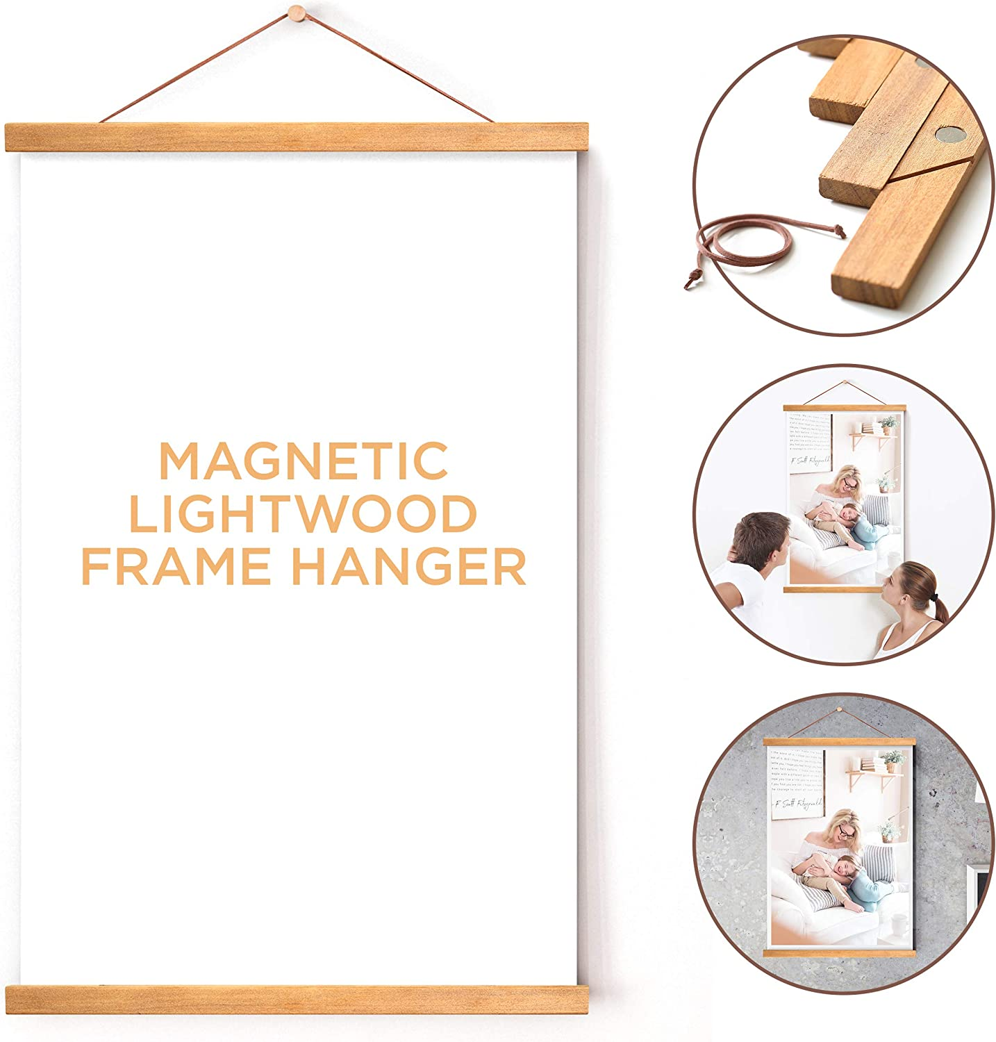 Magnetic Light Wood Frame Hanger for Photo Picture Canvas Artwork Art Print Wall Hanging Brown, 20 ETCBUYS Magnetic Poster Frame with Hanger