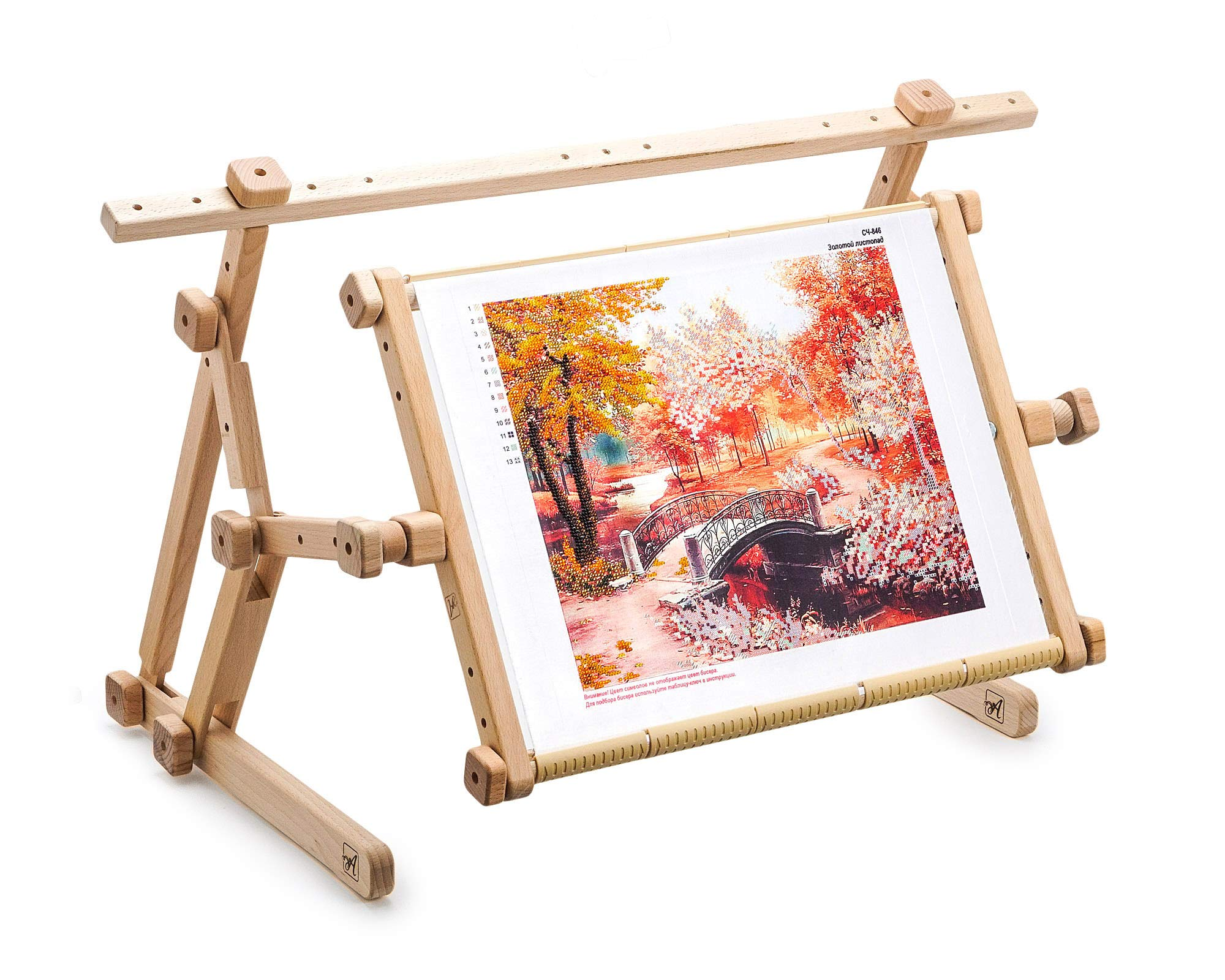 AllAboutEmbroideryUA Embroidery Adjustable Lap Table Stand Hands Free Needlepoint Wooden Cross Stitch Scroll Frame Tapestry Holder Bed Table Stand Craft Tool (15.8'' x 22'') by AllAboutEmbroideryUA