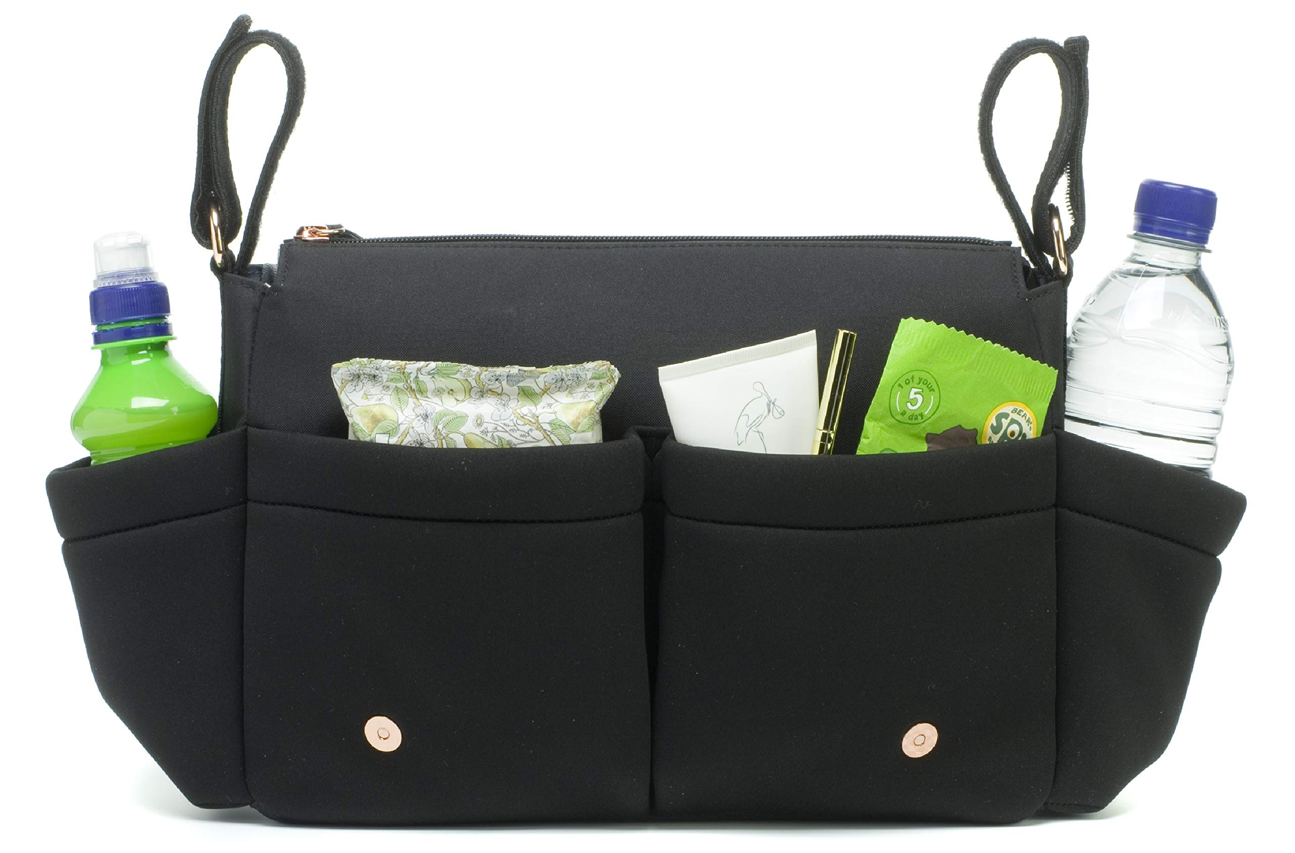 Black Travel Stroller Organizer and Hanging Diaper Bag by Storksak | Universal Fit, Large Storage Capacity, Baby Caddy with Elastic Cup Holder and Integrated Accessories by Storksak (Image #3)