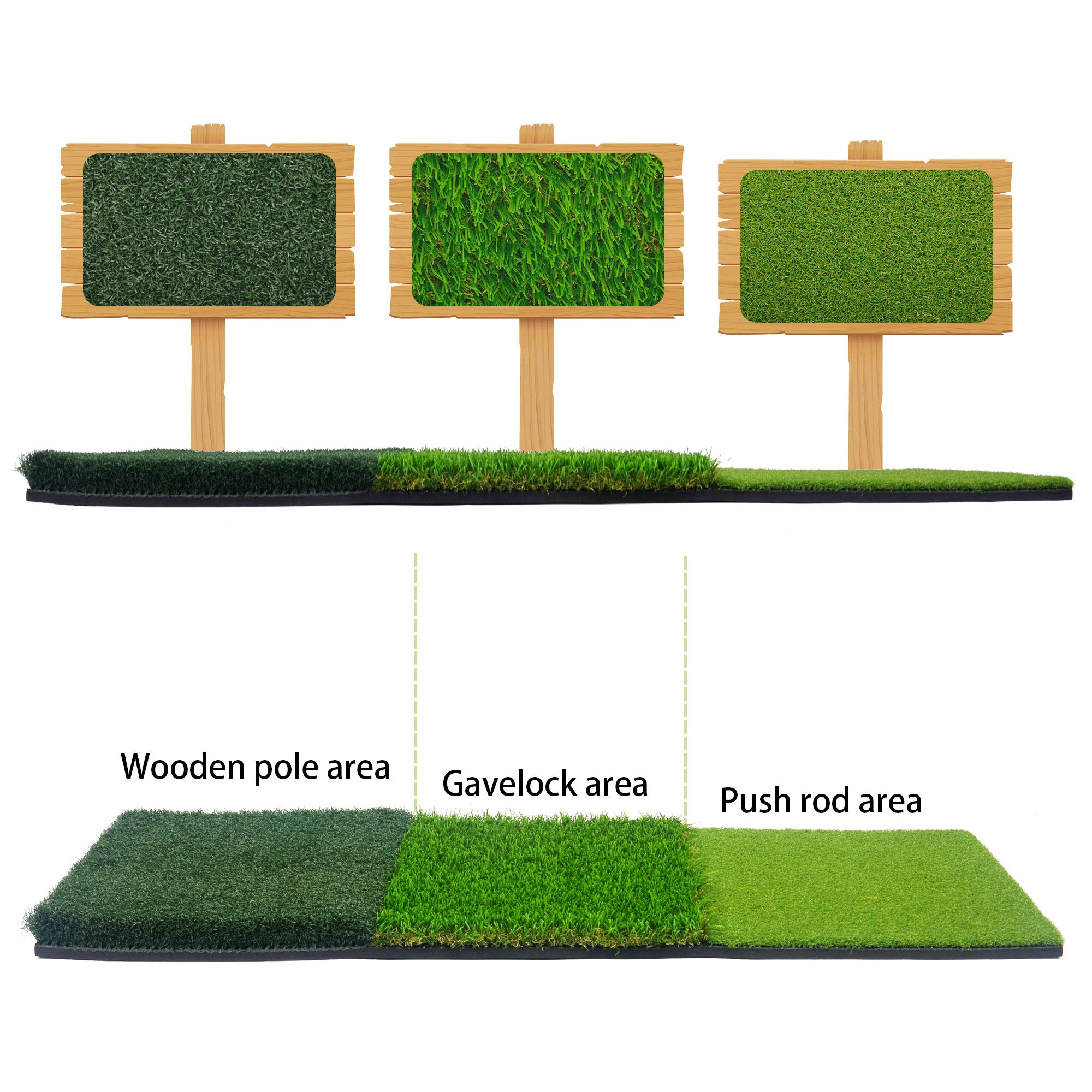H&B Luxuries Portable 3-in-1 Golf Hitting Mats - Turf Grass Mat 15.94''x35.35'' for Backyard Practice GFHMT32 by H&B Luxuries
