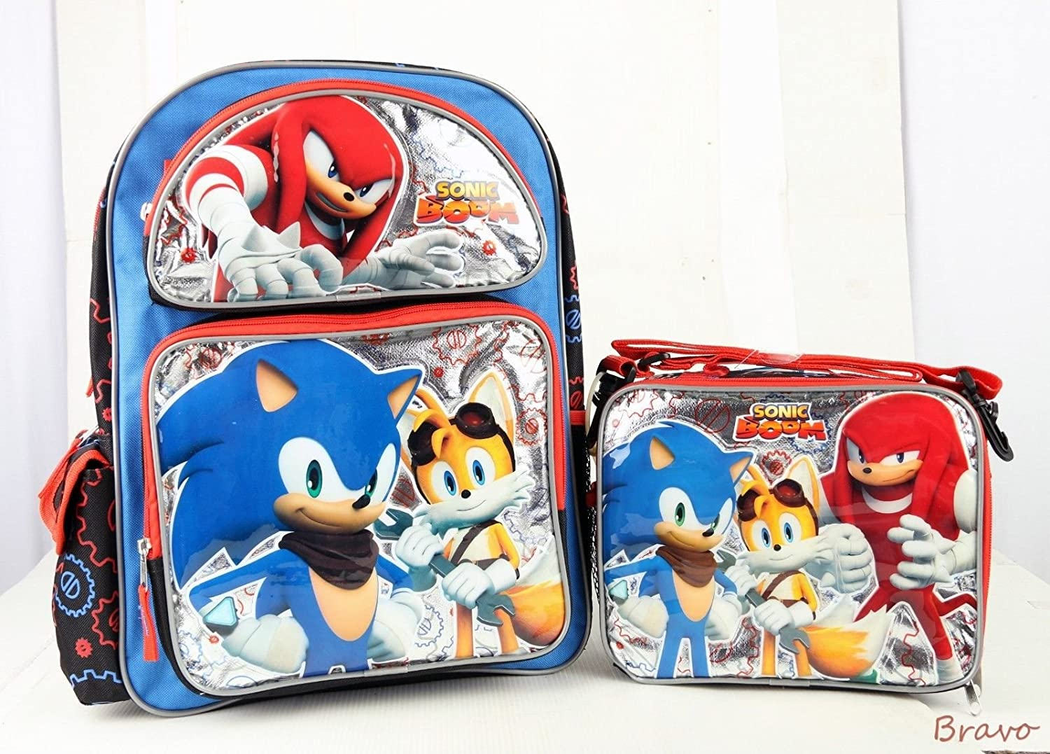 New Sonic Boom Backpack Blau & rot 16 Large School BAG & Lunch Bag Set by Sonic