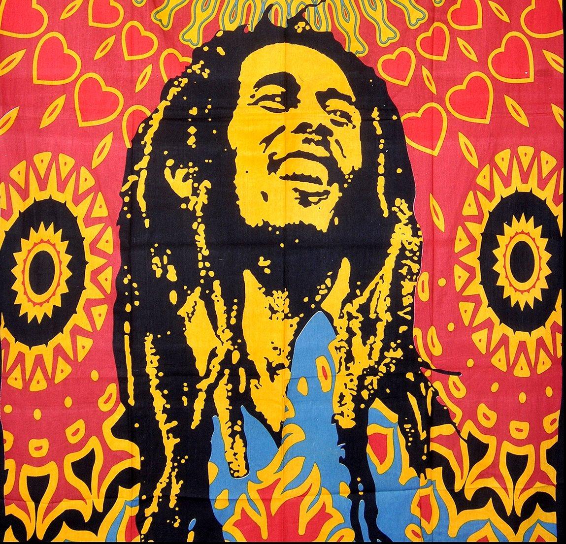 Amazon.com: ModTradIndia-Bob Marley Tapestry, Indian Hippie Wall ...