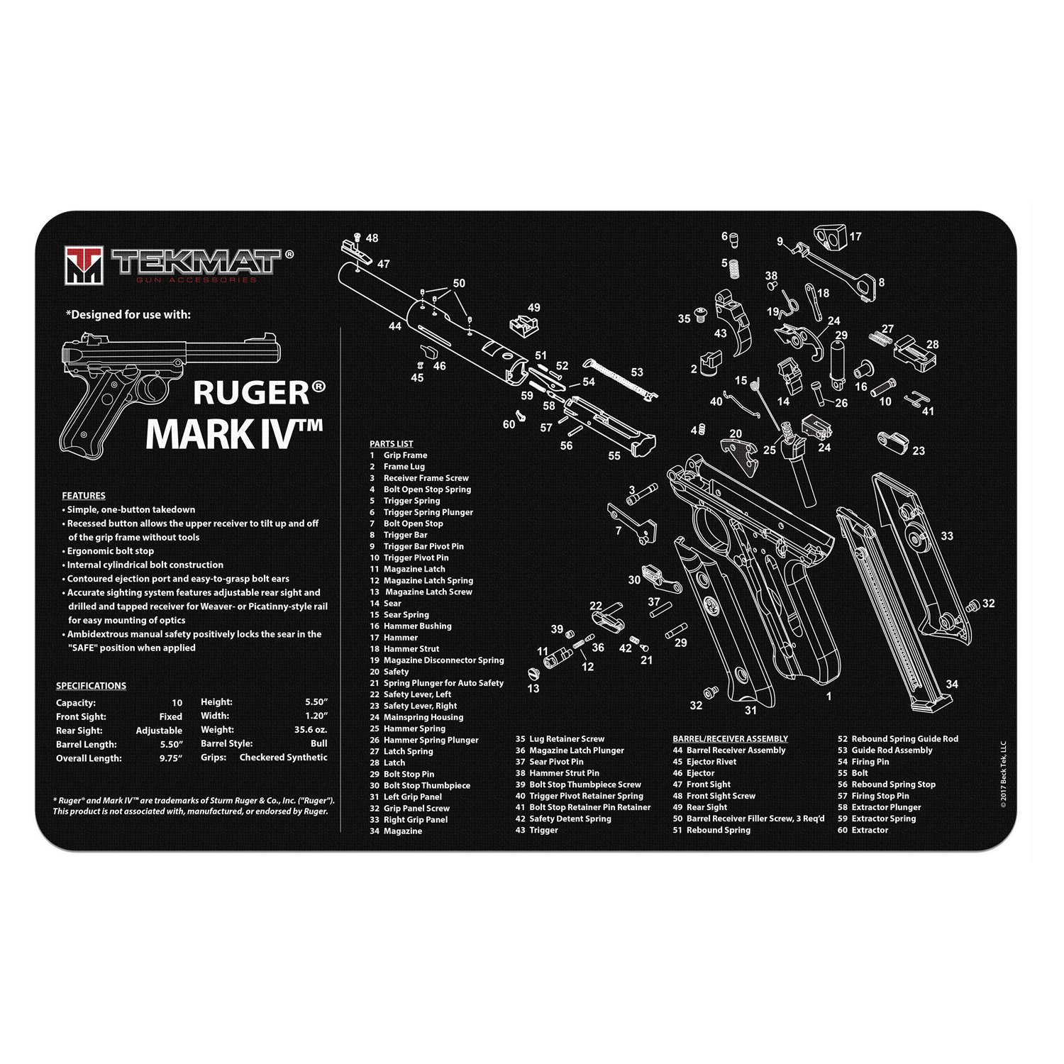 TekMat Ruger Mark IV Cleaning Mat/11 x 17 Thick, Durable, Waterproof/Handgun Cleaning Mat with Parts Diagram and Instructions/Armorers Bench Mat/Black