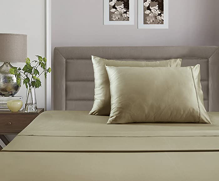 ADDY HOME FASHIONS Luxury 100% Cotton 400 Thread Count Ultra Soft 6 Piece Sheet Set with Bonus Pillowcases, King - Taupe