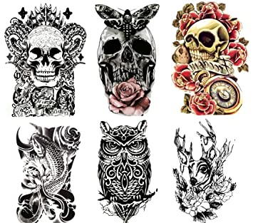 Amazon.com : Large Non-Toxic Temporary Tattoos | Set of 6 Fake ...