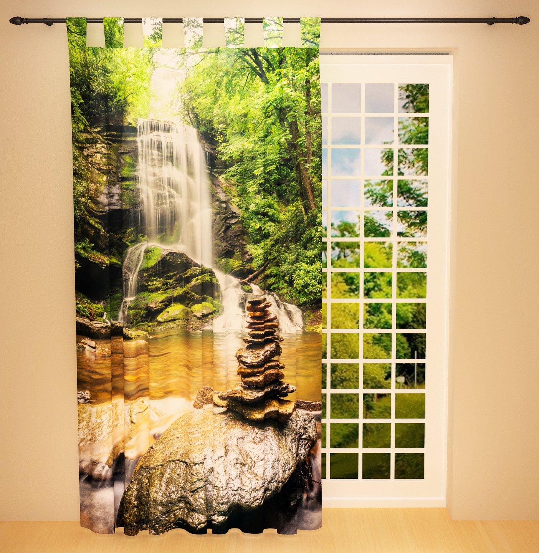 Clever-Kauf-24 Schlaufenschal Vorhang Gardine Wasserfall im Wald BxH 145 x 245 cm   Sichtschutz   Lichtdurchlässiger Schlaufenvorhang mit Druckmotiv