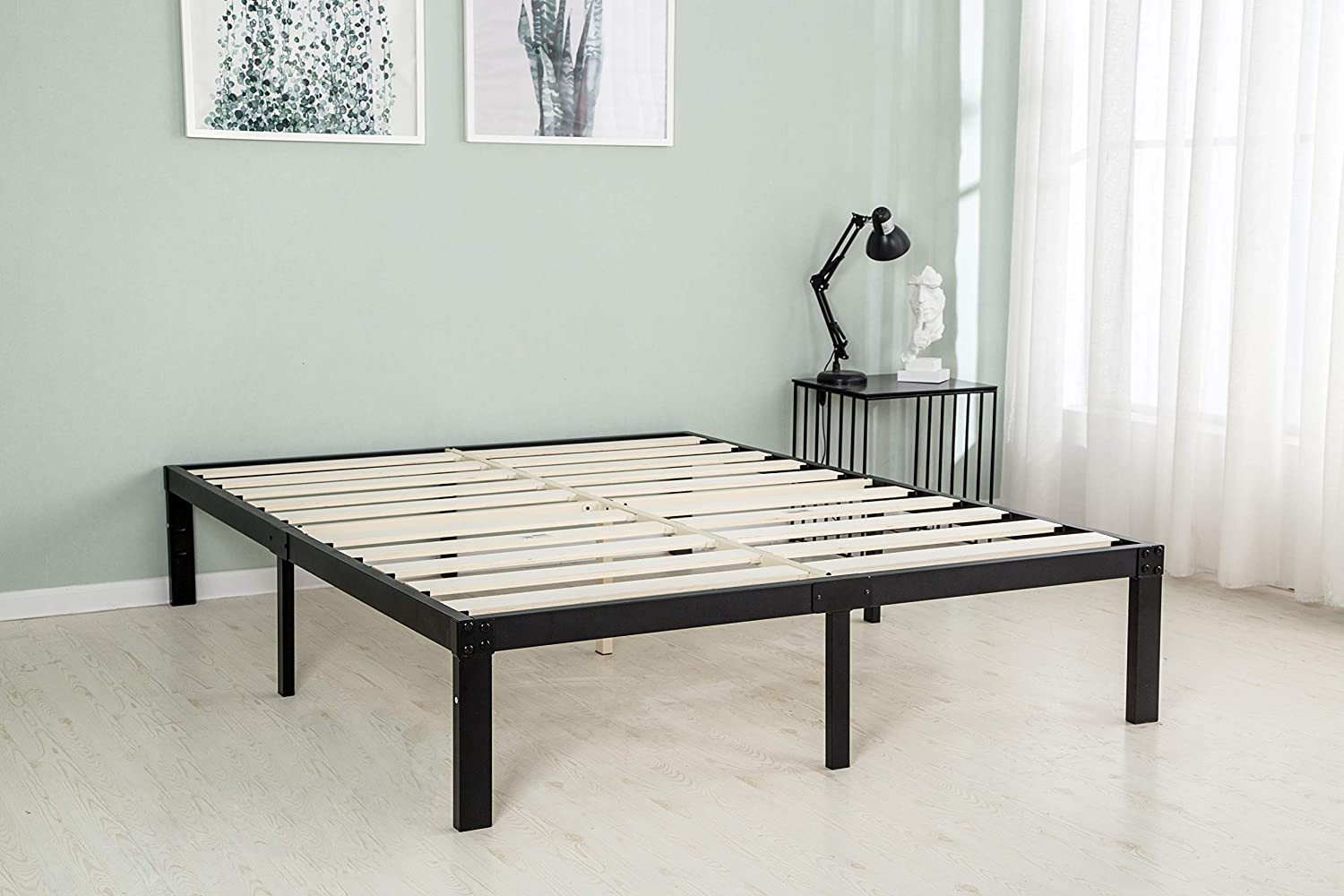 zizin Metal Bed Frame Queen with Wood Slats Heavy Duty 3500lbs Mattress Foundation No Box Spring Needed Noise Free 14 Inch Platform Beds Base Reinforced Wooden-Queen