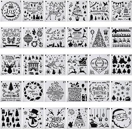 Amazon Com Paquete De 30 Plantillas De Navidad Para Pintar Y