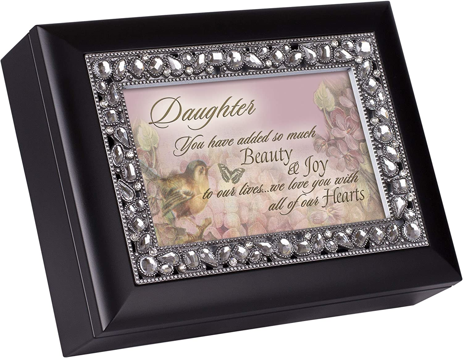 Cottage Garden Daughter Beauty & Joy Classic Black Clear Jeweled Music Box Play Wonderful World