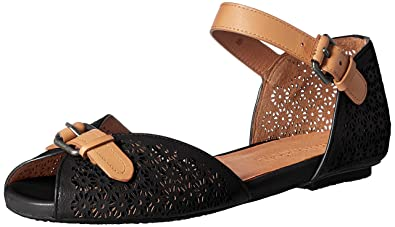 08e9ecfd Gentle Souls by Kenneth Cole Women's Bessie Flat with Ankle Strap Shoe,  black, 6