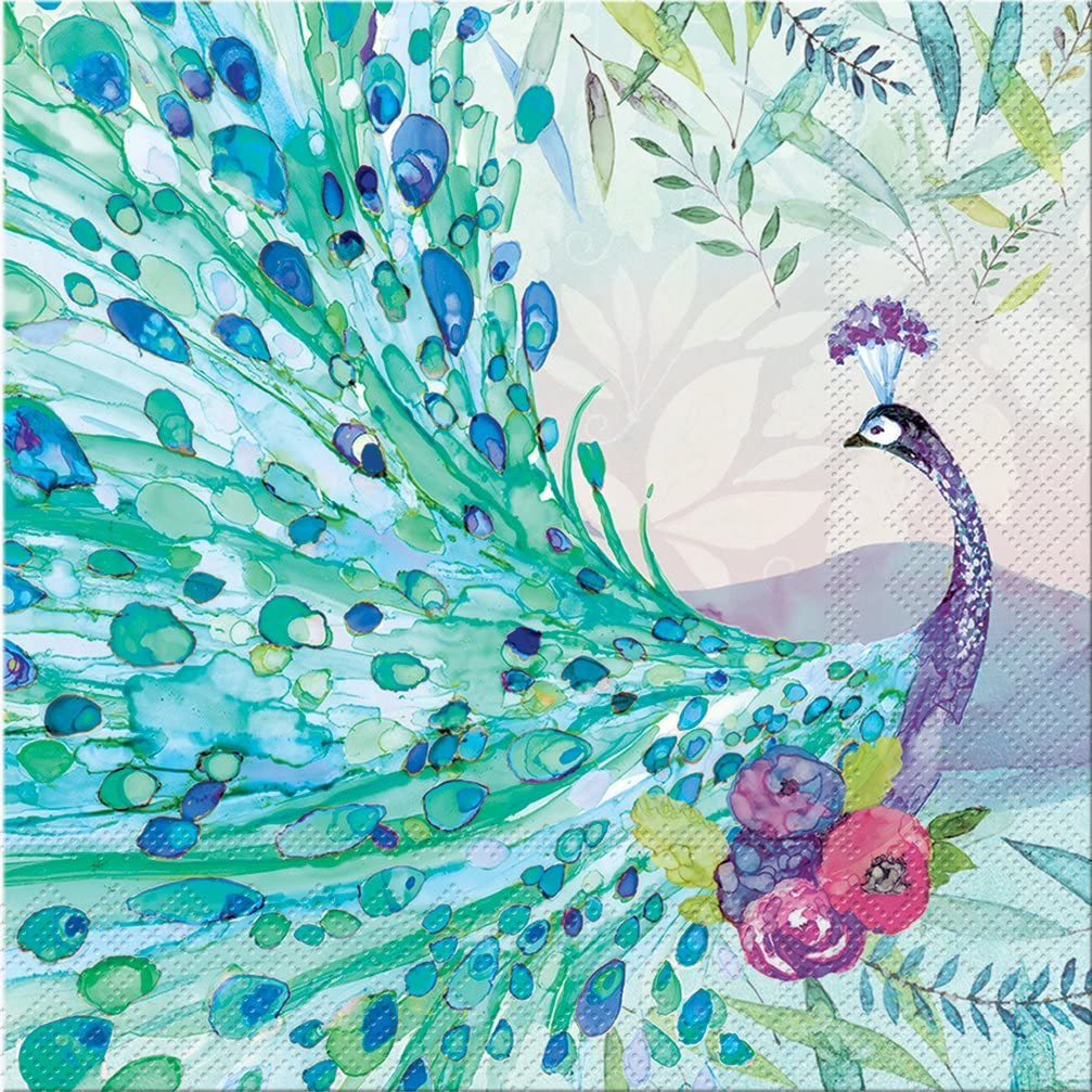 Punch Studio 45913, Pagoda Peacock, Luncheon Napkin, One Size, 20 Count, Multicolor