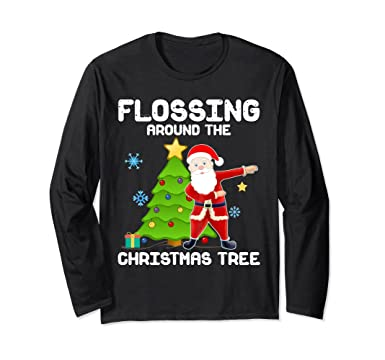 unisex santa flossing around the christmas tree long sleeve t shirt small black