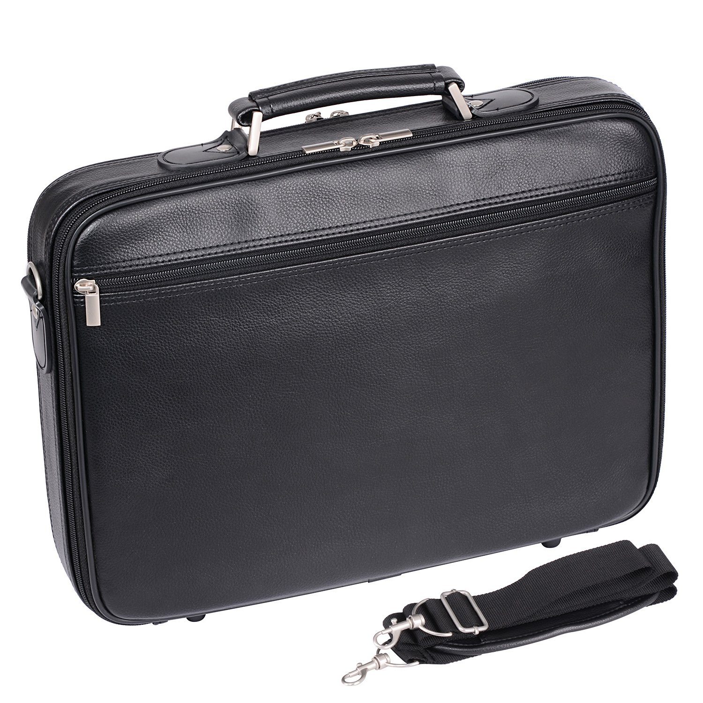 Ronts Mens PU Leather Briefcase Laptop 13-15.6 Shoulder Attach Case Business Lawyer Doctor Bag