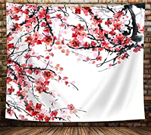 Japanese Cherry BlossomTapestry, Anime Spring Plum Red Pink Floral Sakura Flower Tapestry Wall Hanging for Living Room Bedroom Dorm Decor, Asian Black and White Tapestry, 60X40in Small Japan Tapestry