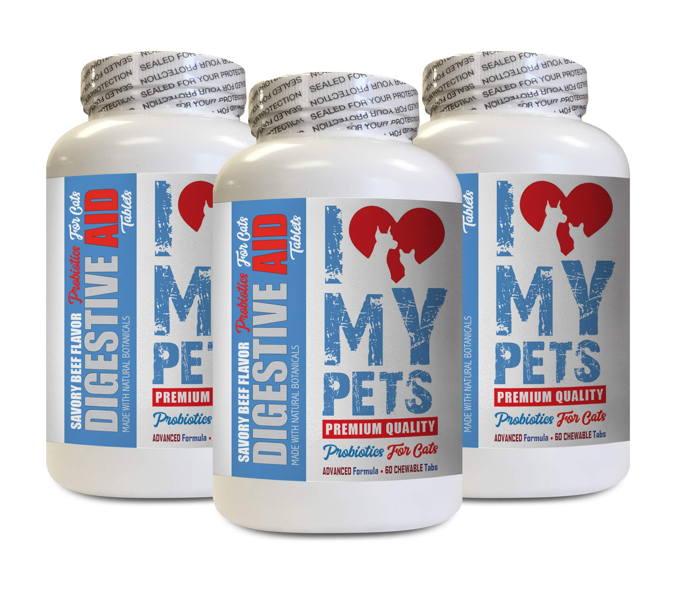 I LOVE MY PETS LLC cat Stomach Relief - CAT Digestive AID - Healthy PROBIOTICS - Chews - cat acidophilus - 180 Treats (3 Bottles) by I LOVE MY PETS LLC