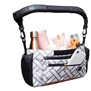 Universal Stroller Organizer with Cup Holders Diaper Changing Pad Baby Shower Gift Secure Fit Extra Storage Easy Install Stroller Caddy Non-slip Parent Console for Uppababy Vista Cruz Baby Jogger