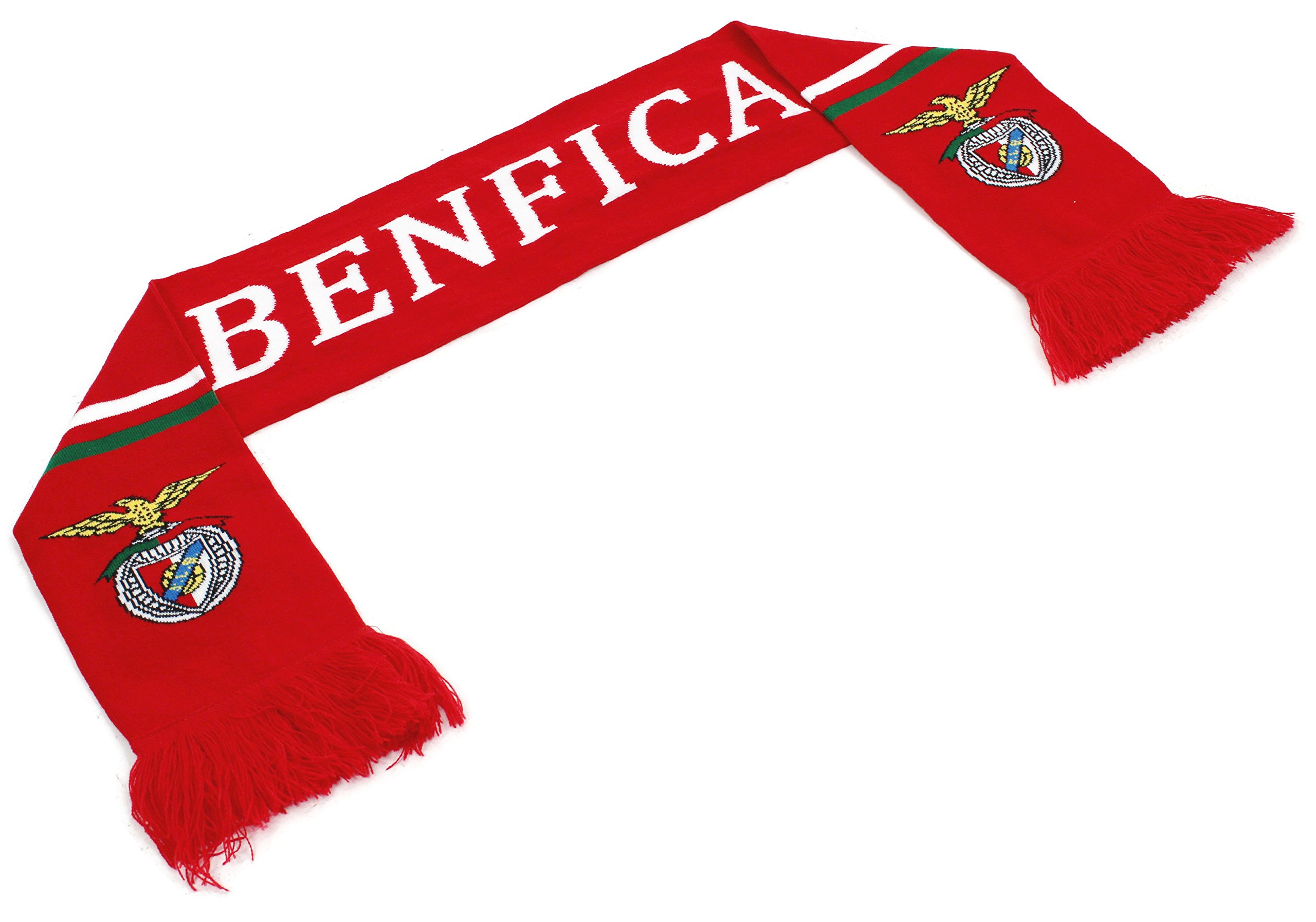 High End Hats ''Official World Soccer Team Scarf Collection'' Double Weave Head Scarf for Men or Women, Benfica with Logo, Red