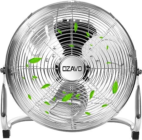 OZAVO Ventilador de Suelo 40CM, Power Fan, Metálico Máquina de Viento Ventilador Sobremesa, Circulador de Aire, 3 Niveles de Potencia, 45W, Inclinación de 100 Grados ...