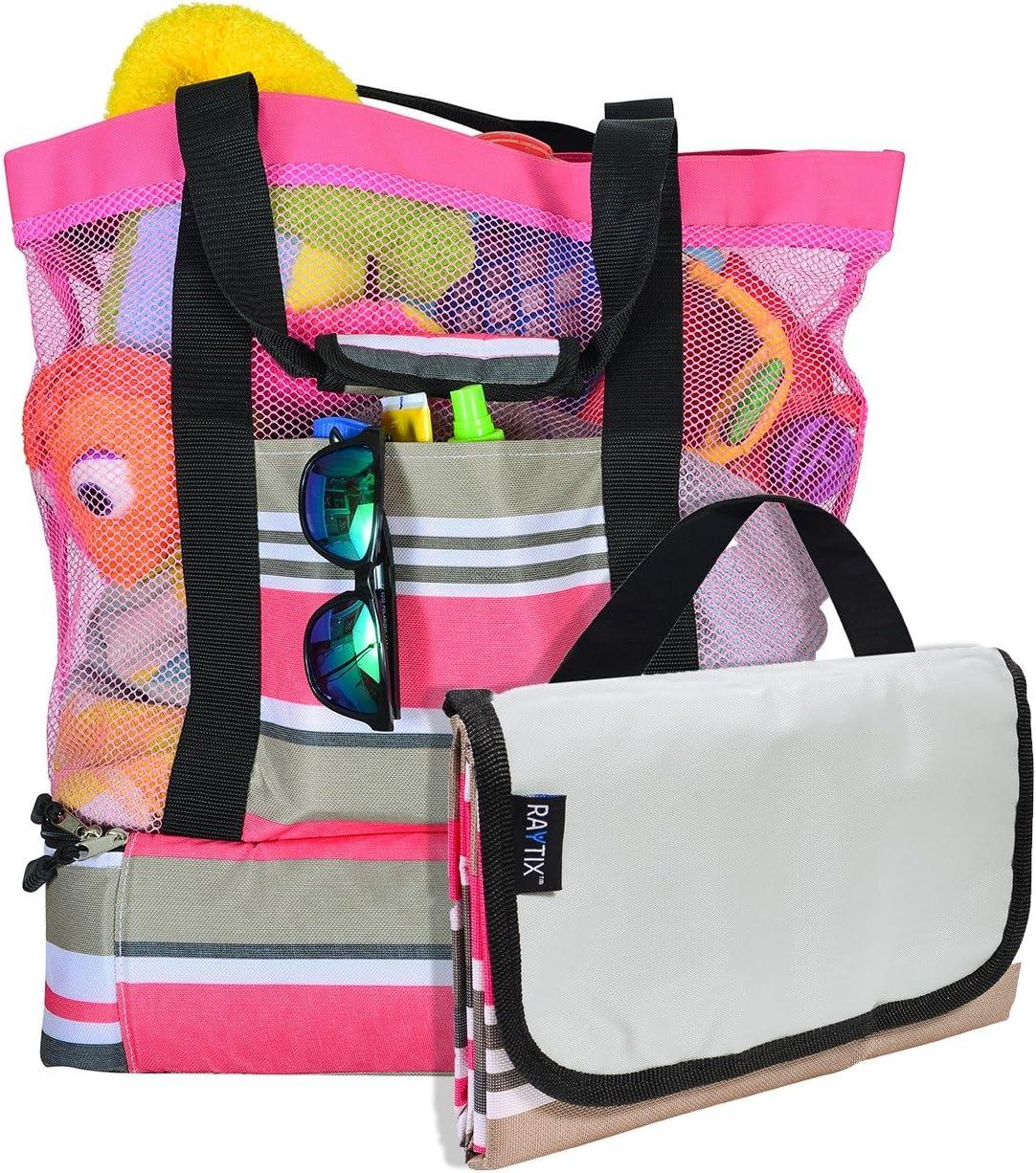 Beach Bag with Lightweight Fold Up 5'x6'Beach Mat & built-in cooler (PINK)