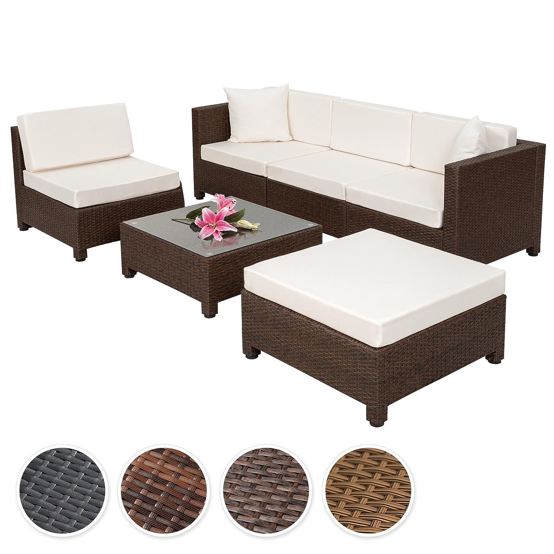 TecTake Hochwertige Aluminium Luxus Lounge mit 2 Bezugssets Poly-Rattan Sitzgruppe Sofa Rattanmöbel Gartenmöbel - diverse Farben - (Antik-Braun | Art.Nr. 401992)