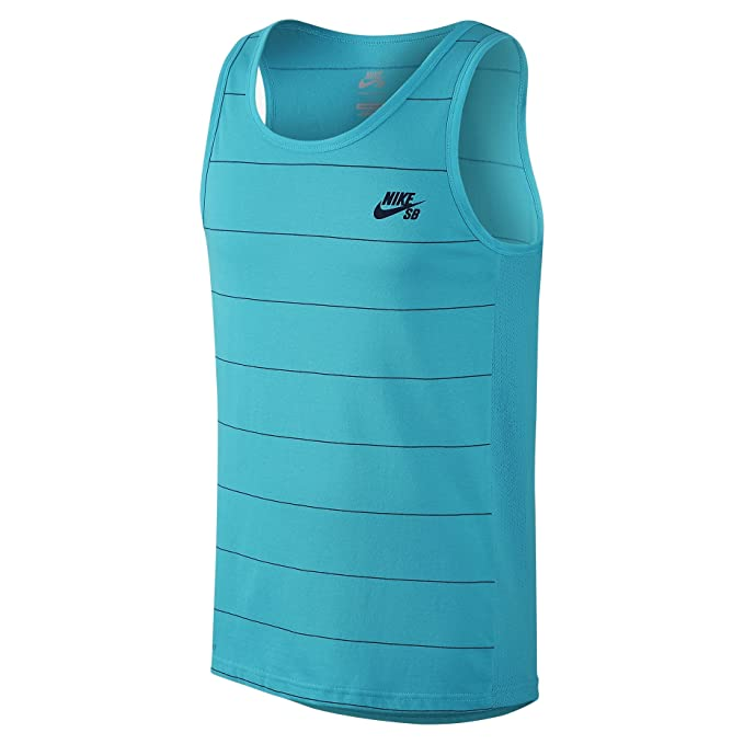 Nike SB mens Dri Fit Yarn Dye Tank Top Omega Blue/Obsidian Small