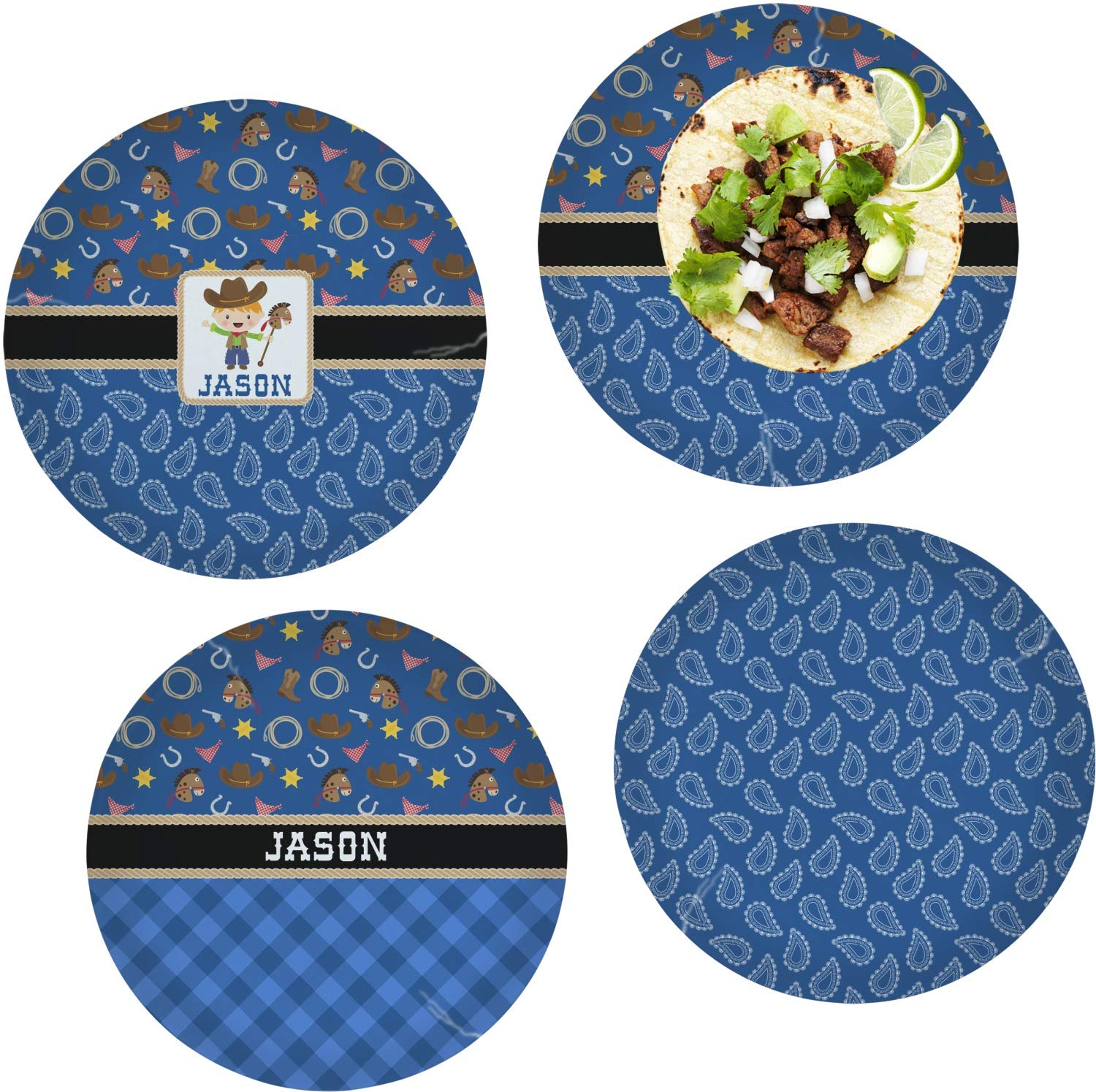Blue Western Set of 4 Glass Lunch/Dinner Plate 10'' (Personalized)