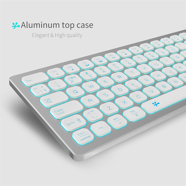 B.FRIENDIT Teclado Delgado de Aluminio retroiluminado con Cable - Diseño del Reino Unido Compatible con Apple iMac, Macbook, Mac y PC, Teclado USB ...