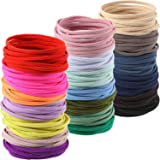 200 Pieces Seamless Hair Bands Elastic Hair Rope Ponytail Hair Ties Flat Design (Black) (Assorted Color)