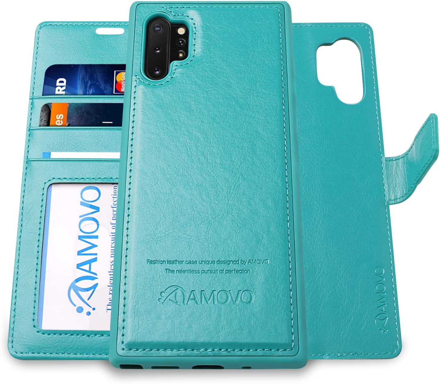 Samsung S10+ Flip Case with Gift Box Package S10Plus AMOVO Galaxy S10 Plus Case 2 in 1 , Black 6.4/'/' Vegan Leather Kickstand Wrist Strap Samsung Galaxy S10 Plus Wallet Case Detachable 6.4/'/'