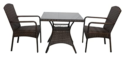 Outkraft Aluminium Wicker Coffee Set 2 Chair and 1 Table