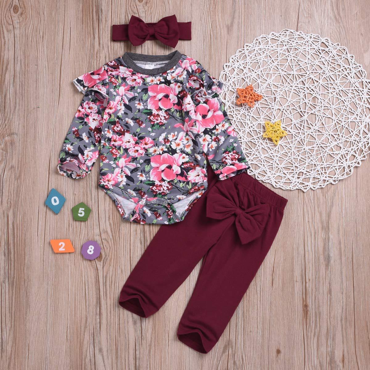 20fade865 Amazon.com  Newborn Baby Girls Ruffle Romper Floral Pants Headband ...