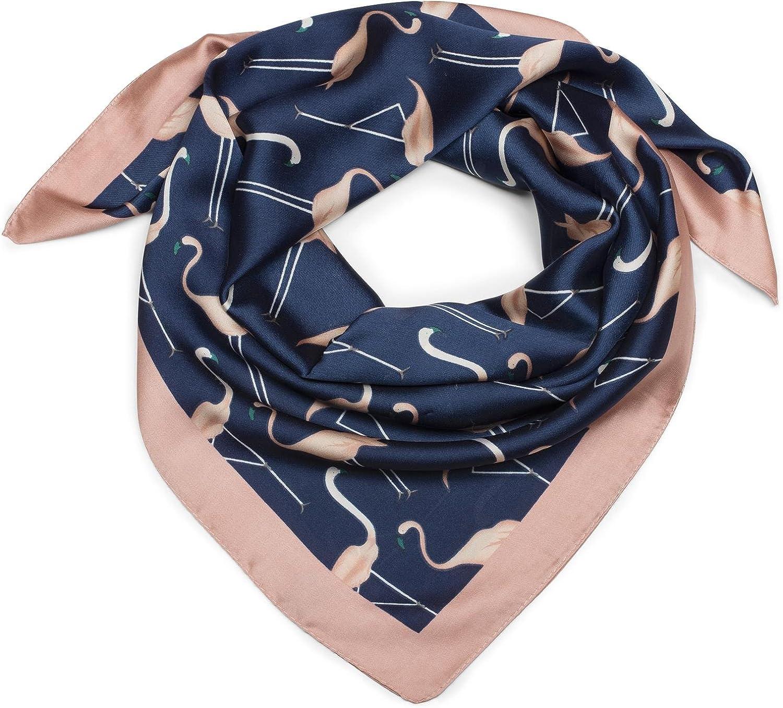 Damen 01016164 Tuch Kopftuch styleBREAKER seidiges Viereckstuch mit Flamingo Print und farblich abgesetztem Rand Halstuch