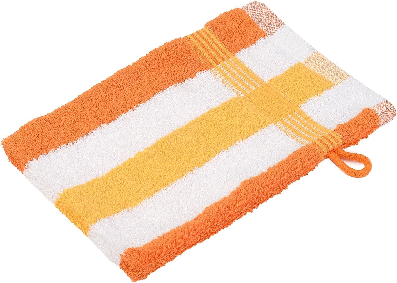 Gözze 555-8450-A1 - Juego de Manoplas de baño (550 g/m² de algodón, Control Textil según Ökotex 100 Standard), Color Naranja, Blanco y Amarillo: Amazon.es: Hogar