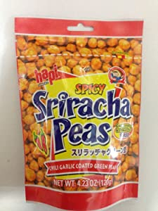 Hapi Snacks - Spicy Sriracha Peas - Chili Garlic Coated Green Peas 4.23 Oz (Pack of 3)