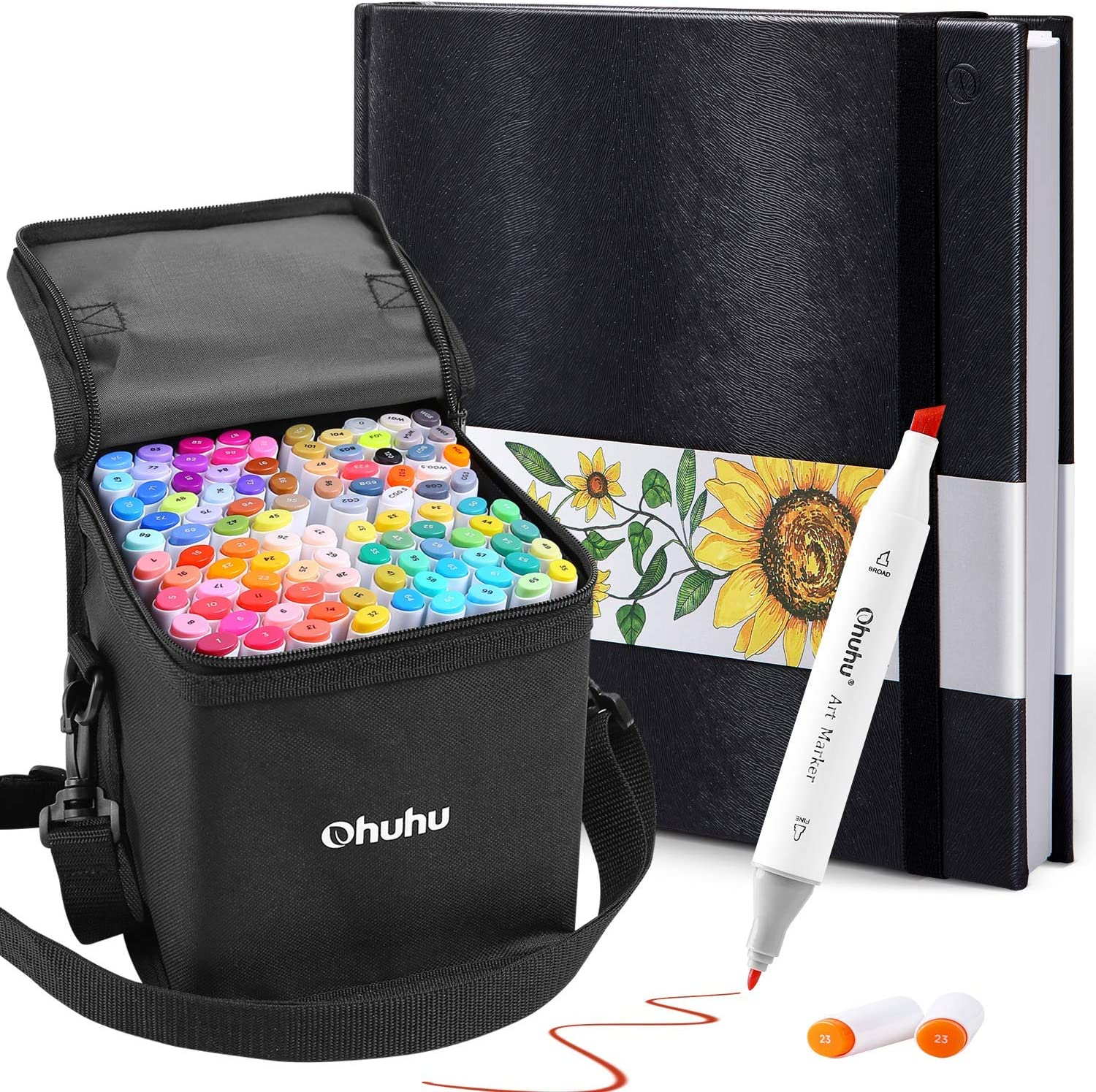 """Ohuhu 100 Colors Alcohol Art Markers (Fine & Chisel, Bonus 1 Colorless Blender) + 8.3"""" ×8.3"""" Marker Pads Art Sketchbook, 120LB/200GSM Heavy Smooth Drawing Papers, 78 Sheets/156 Pages"""