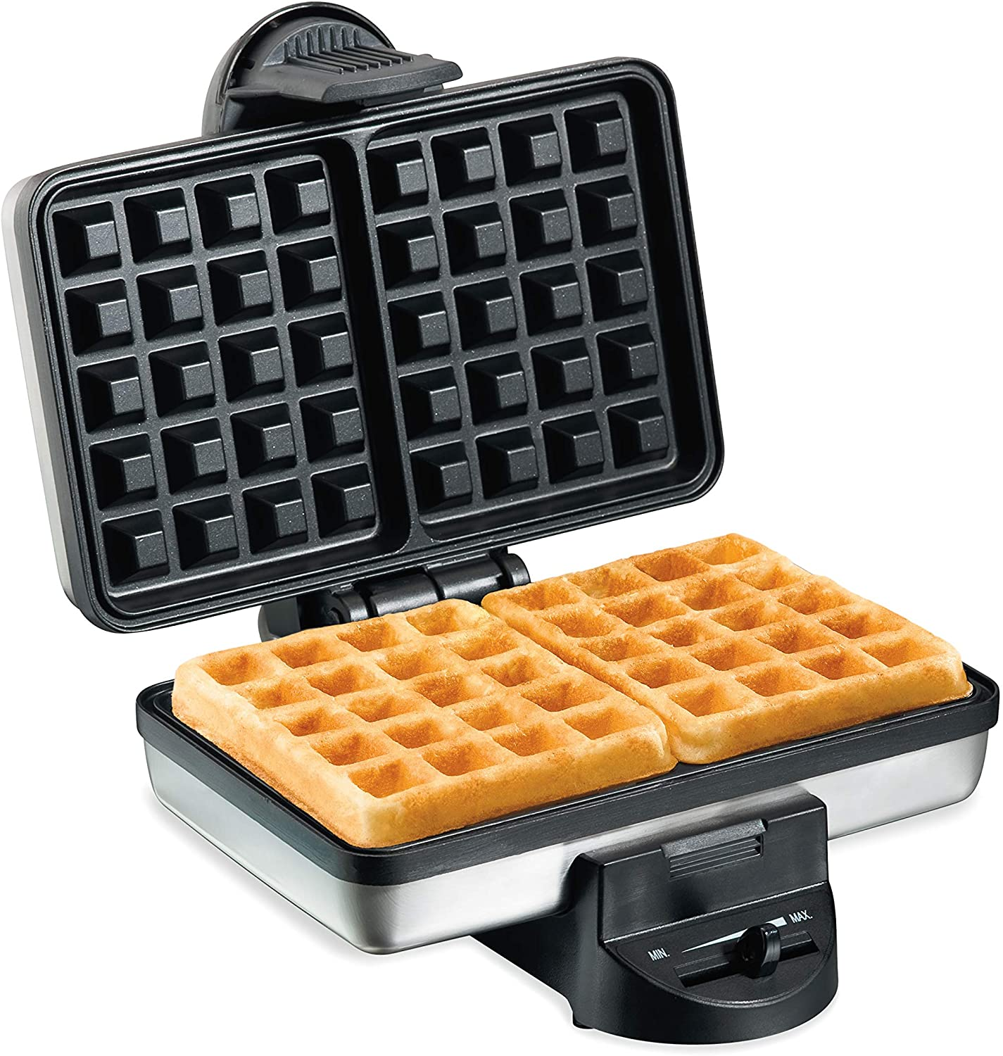 Hamilton Beach 2-Slice Non-Stick Belgian Waffle Maker with Browning Control, Indicator Lights, Compact Design, Premium Stainless Steel 26009