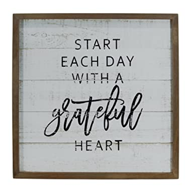 Weathered White Wood Framed Distressed Wall Sign  Start Each Day With A Grateful Heart