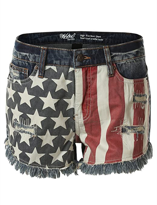 Mossimo Women's Americana Distressed Denim High Rise Shorts Cuttoffs
