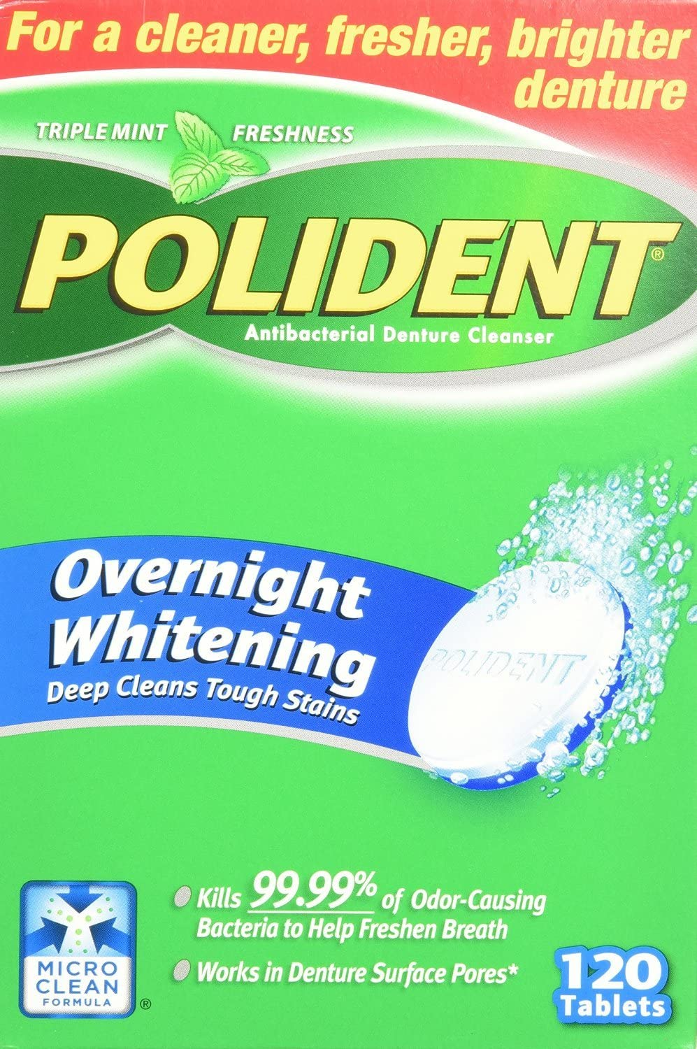 Polident Overnight Whitening Denture Cleanser 120 Tablets (Pack of 2): Health & Personal Care