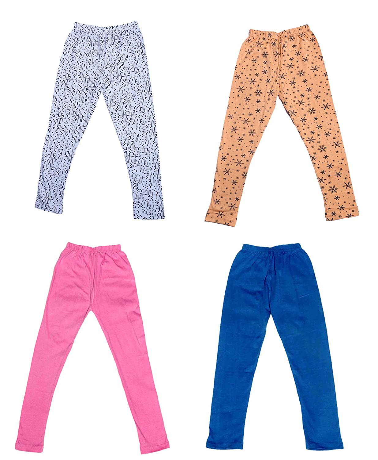 Indistar Girls 2 Cotton Solid Legging Pants and 2 Cotton Printed Legging Pants /_Multicolor/_Size-13-14 Years/_71408091921-IW-P4-36 Pack Of 4